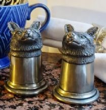 Pewter Fox Head Salt and Pepper Shakers
